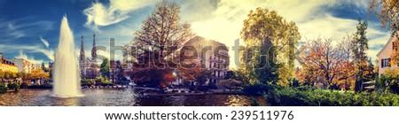Beautiful autumn cityscape of Baden-Baden, Germany - stock photo