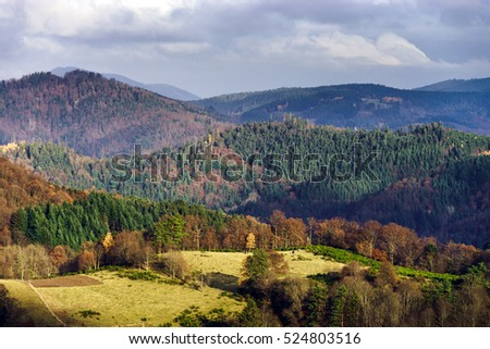 Beautiful autumn colors in mountains, landscape natural view, France