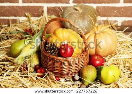Beautiful autumn composition on straw,  on bricks wall background - stock photo