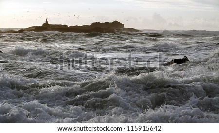 Beautiful autumn in a rocky seaside from the north of Portugal - stock photo