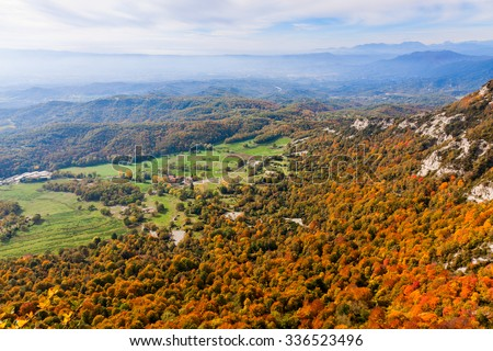 Beautiful autumn landscape in La Garrotxa, Catalonia - stock photo