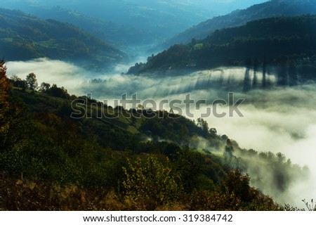 Beautiful autumn landscape in mountains Karpaty in the fores