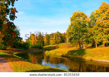 beautiful autumn park at sunny weather - stock photo