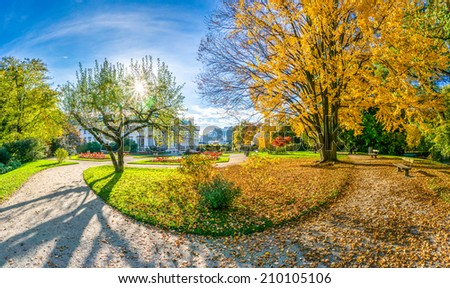Beautiful autumn scene in park at sunrise, Salzburg, Salzburger Land, Austria - stock photo