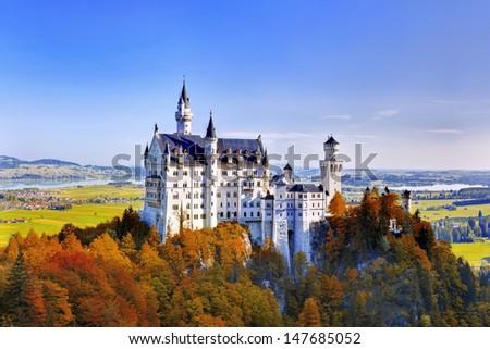 Beautiful autumn view of the Neuschwanstein castle (Fussen Bavaria, Germany) - stock photo