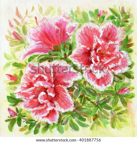 Beautiful Azalea flowers. Original acrylic hand painting illustration - stock photo