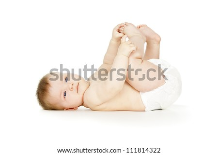beautiful babe lies naked in diapers - stock photo