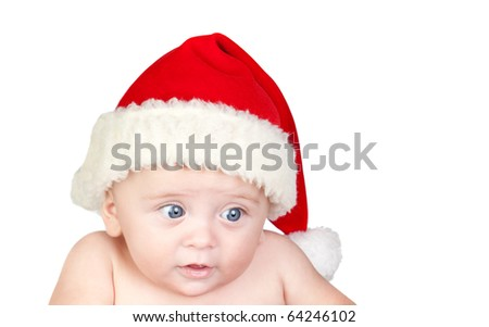 Beautiful babe with blue eyes and Christmas hat isolated on white background - stock photo