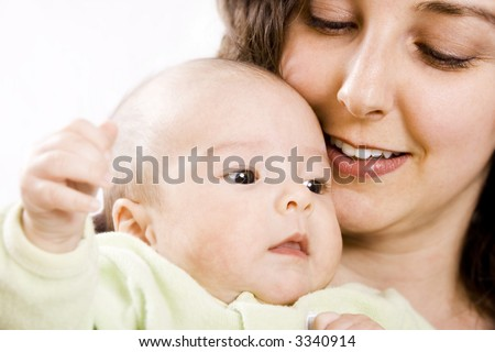 beautiful baby and mother