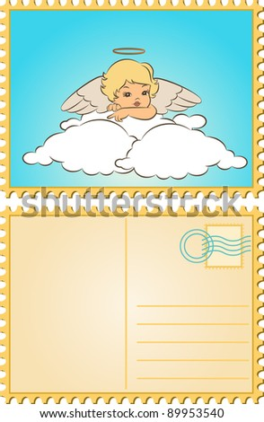 Beautiful baby angel with wings. - stock photo