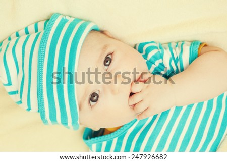 beautiful baby boy, four months - stock photo