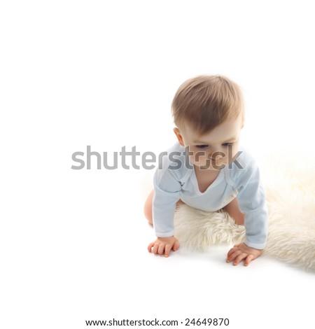 beautiful  baby boy on white background - stock photo