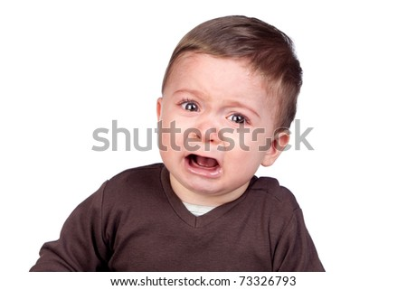 Beautiful baby crying isolated on white background - stock photo