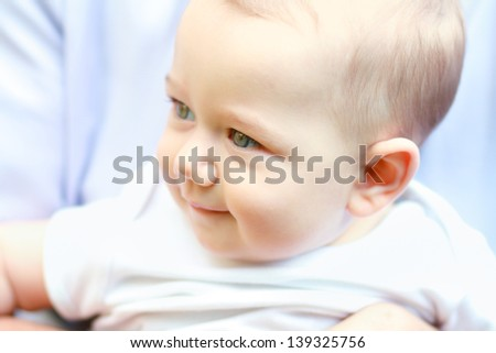 Beautiful baby few months old portrait outdoors - stock photo