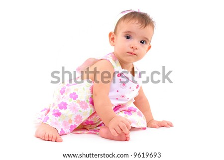 Beautiful baby girl on white background .