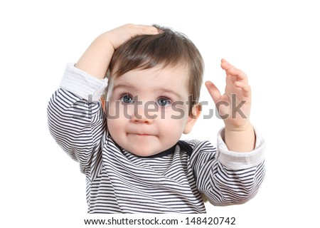 Beautiful baby girl with hand on the head isolated on a white background              - stock photo