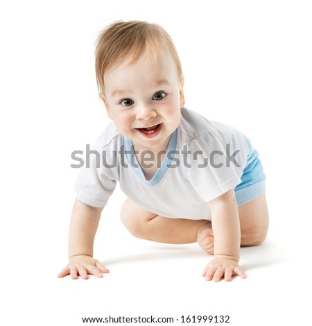 beautiful baby in a shirt crawling and laughing