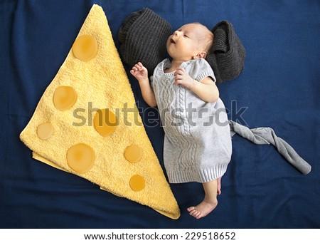 Beautiful baby newborn mouse love tasty chees - stock photo