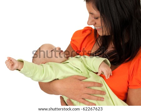 beautiful baby of two months old in his mothers hands - stock photo