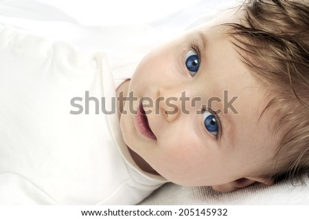 beautiful baby portrait on white  - stock photo