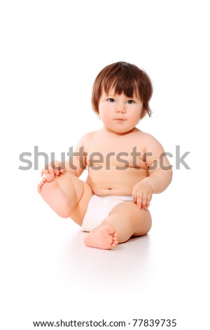 Beautiful baby. Shot in studio. Isolated on white.