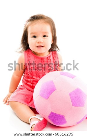 Beautiful Baby with a plush ball on white background . - stock photo