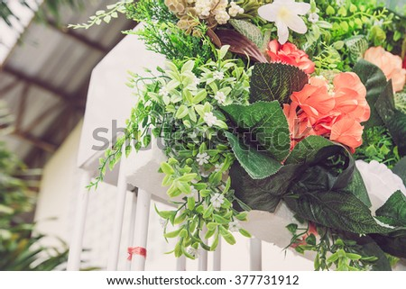 Beautiful backdrop flowers  for wedding ceremony.