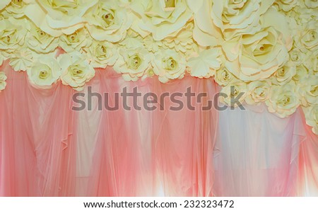 Beautiful backdrop flowers ready for wedding ceremony - stock photo