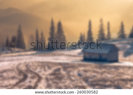 Beautiful backdrop winter landscape in the mountains. Sunset. - stock photo