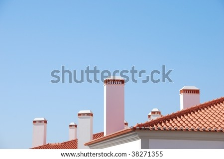 beautiful background building with a lot of chimneys