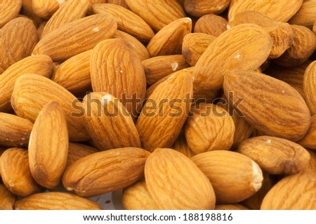 beautiful background of shelled almonds