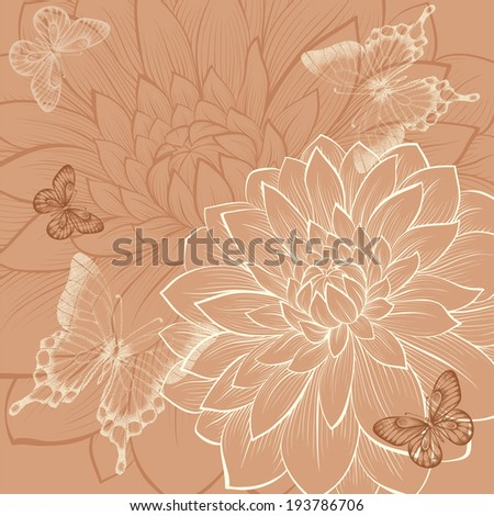 beautiful background with flowers dahlia and butterflies. Vintage color. Hand-drawn contour lines and strokes. Additional vector format in the profile of the artist - stock photo