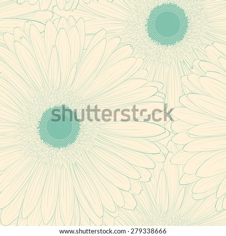 Beautiful background with gerbera flower . Hand-drawn contour lines and strokes. - stock photo