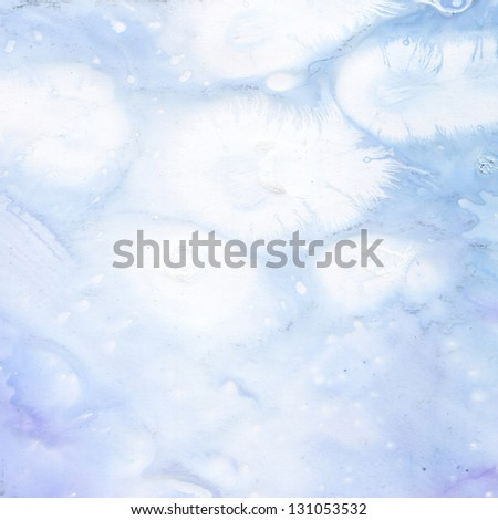 Beautiful background with streaks of white feathers on a blue background - stock photo