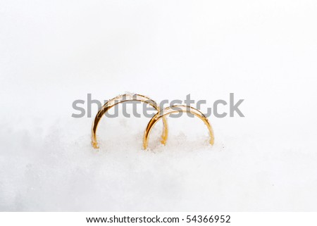 beautiful background with two gold wedding rings - stock photo