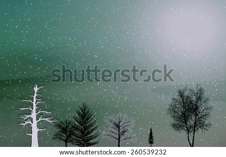 Beautiful background with winter landscape - stock photo