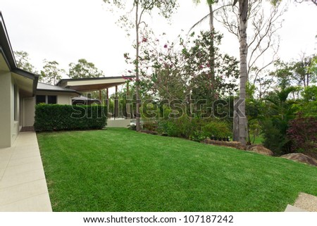 Beautiful backyard in stylish Australian home - stock photo
