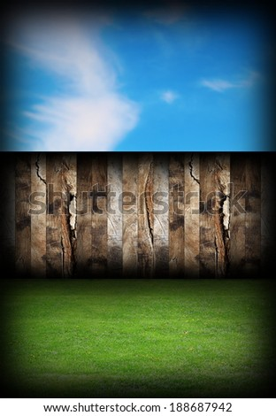 beautiful backyard with wood fence, green lawn and blue sky, abstract natural  backdrop - stock photo
