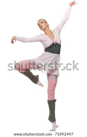 Beautiful ballet dancer isolated on white background