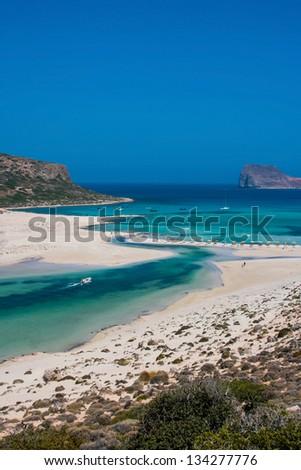 Beautiful Balos Lagoon and Gramvousa island on Crete, Greece. Cap tigani on the left - stock photo