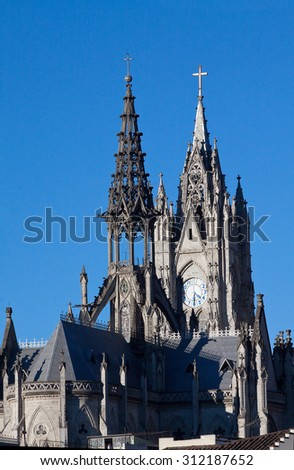 Beautiful Basilica catholic church in Quito, Ecuador - stock photo