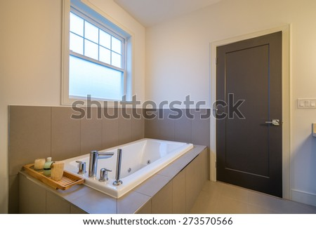 Beautiful bathroom in a luxury home. Interior design. - stock photo