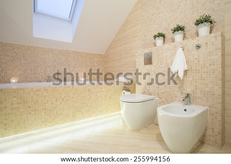 Beautiful bathroom in beige color in apartment