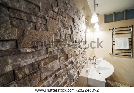 Beautiful Bathroom in Luxury flat. - stock photo