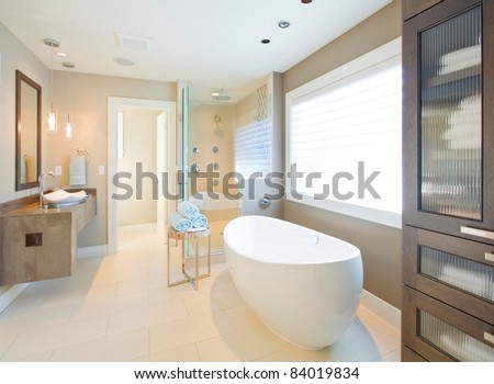 Beautiful Bathroom Interior in New Luxury Home - stock photo