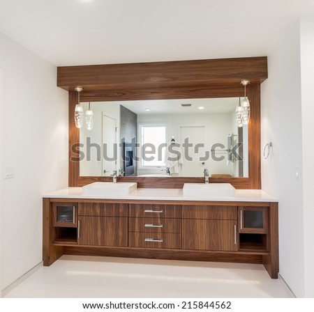 Beautiful Bathroom Vanity in New Home - stock photo