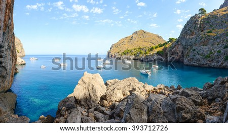 Beautiful bay beach turquoise sea mountains, Cala Sa Calobra. Majorca. Balearic Islands. Spain - stock photo