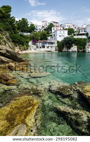 Beautiful bay in Skiathos town, Greece - stock photo