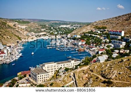 Beautiful bay in summer (Crimea, Balaklava) - stock photo