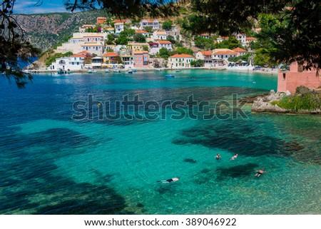 beautiful bay, picturesque seashore - stock photo